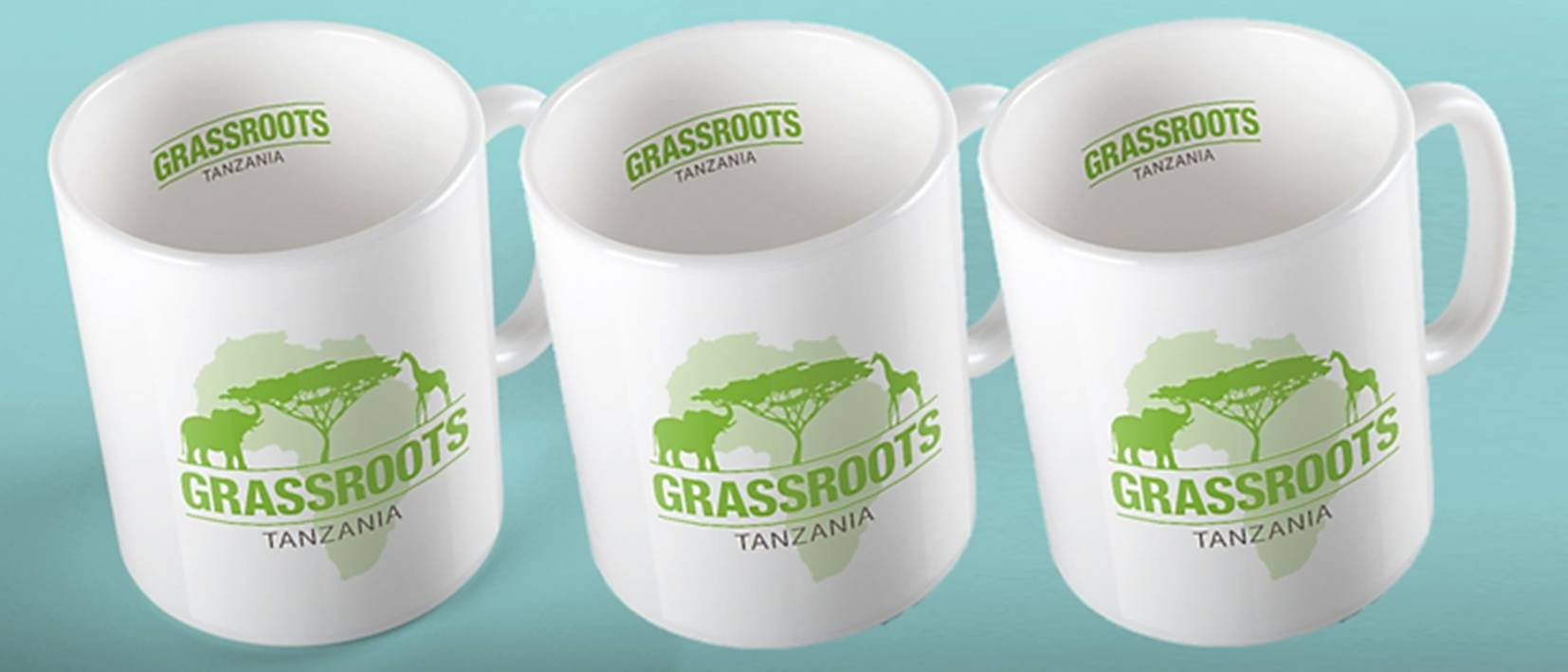 row of mugs with grassroots logo