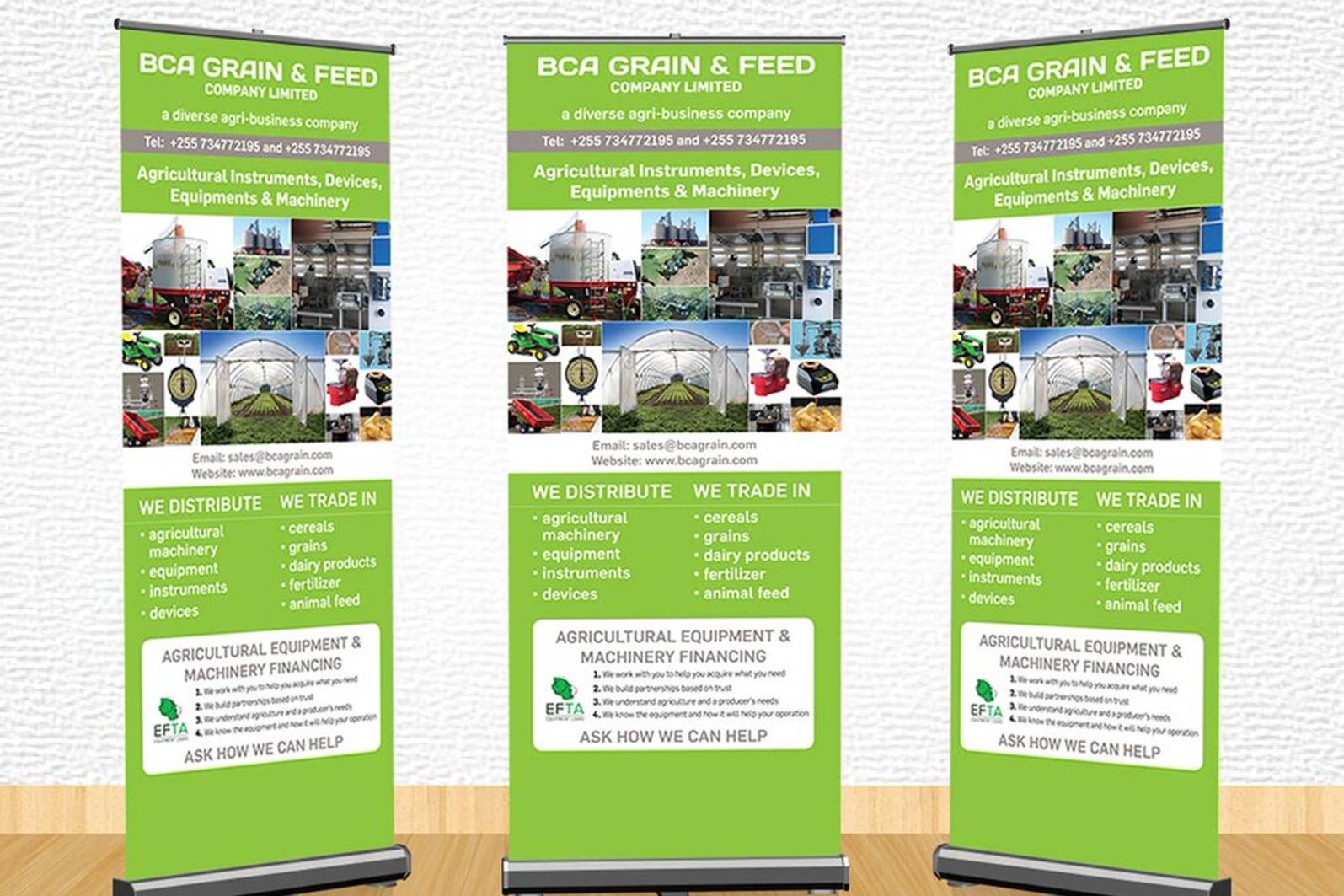 three large roll-up banners