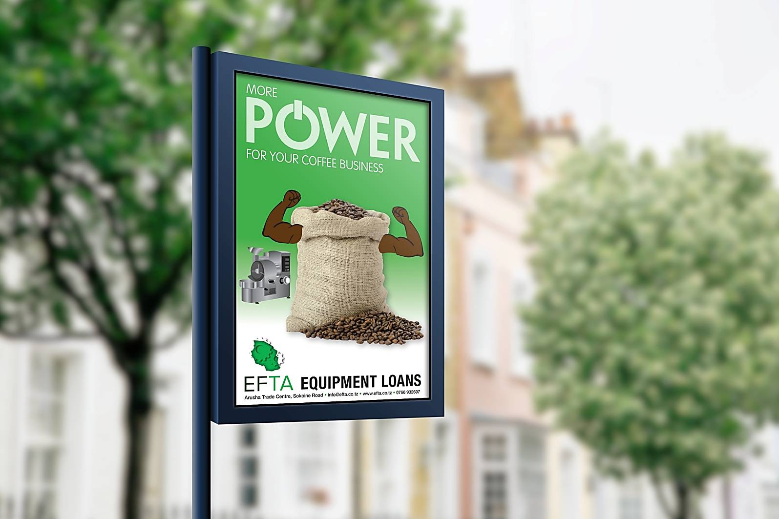 power sign with sack and coffee beans